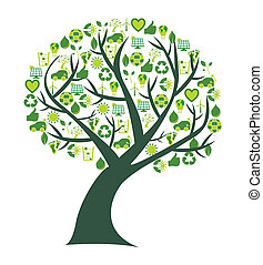 Conceptual tree where the leafs are replaced by bio, eco and environmental symbols and icons