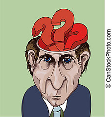 Conceptual vector illustration. Adult businessman and question marks inside his head. Choice problems