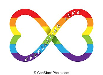 Conceptual vector illustration of everlasting love with the infinity sign in LGBT colors