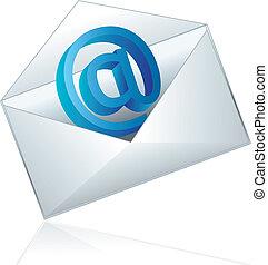Conceptual vector illustration of shiny e-mail icon