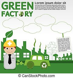 conceptual., vert, usine