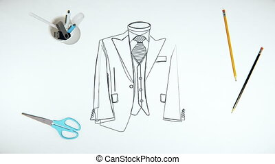 Conceptual video with animated line art of a fashion designers sketch