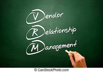 Conceptual VRM acronym Vendor relationship management on blackbo