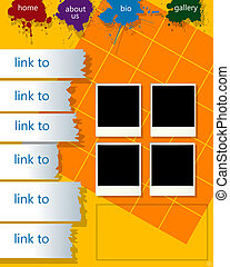 Conceptual web page layout with photoframes and paint drops, abstract art