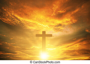 Conceptual wood cross or religion symbol over a sunset sky with clouds background for God. belief or resurrection of god and worship christian. Eucharist Therapy Bless God Helping. Christian Religion
