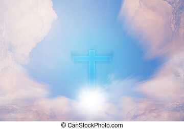 Conceptual wood cross or religion symbol shape over a sky with clouds background for God. belief on resurrection of god and worship christian. sky freedom.