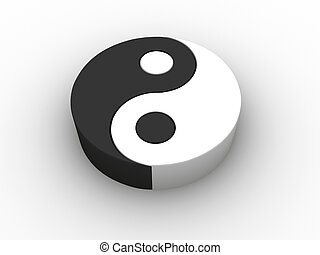 Conceptual Yin Yang symbol - 3d render