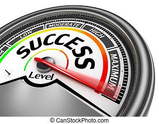 conceptueel, aanwijzen, succes, meter, maximum