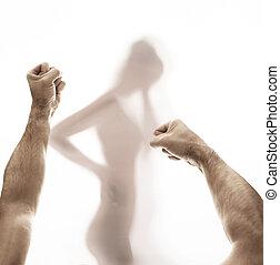 conceptueel, afbeelding, violence, het voorstellen, domestical