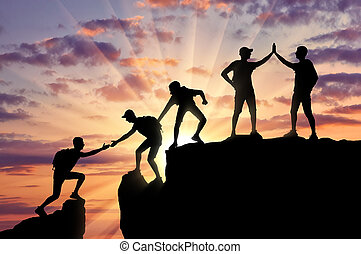 conceptueel, alpinists, teamwork, scène