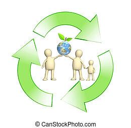 conceptueel beeld, -, bescherming, van, een, milieu