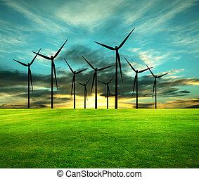 conceptueel, beeld,  eco-energy