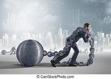 conceptueel beeld, het voorstellen, een, moe, schuldenaar
