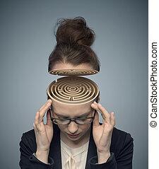 conceptueel beeld, van, een, doolhof, in, de, van een vrouw, hersenen