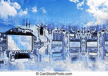 conceptueel beeld, van, wolk, gegevensverwerking