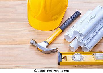 conceptueel, bouwsector, beeld, reeks hulpmiddelen, blauwdruken, hamer, lev