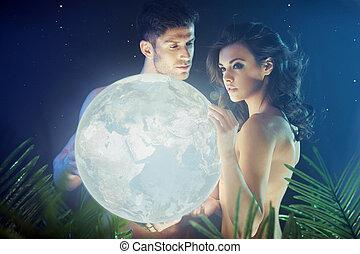 conceptueel, foto, paar, vasthouden, aarde