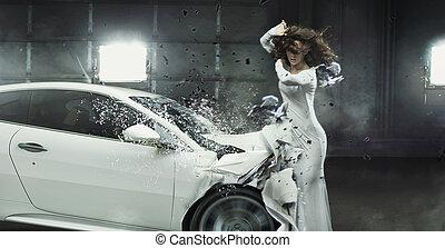 conceptueel, foto, van, een, gebotst, auto