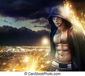 conceptueel, foto, van, een, hooded, strongman