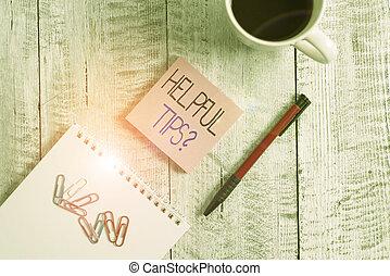 conceptueel, geheim, houten, foto, het tonen, tafel., question., black , kennis, stationair, boven, behulpzaam, kop, raad, meldingsbord, tekst, informatie, tips, gegeven, koffie, volgende, of, geplaatste, zijn