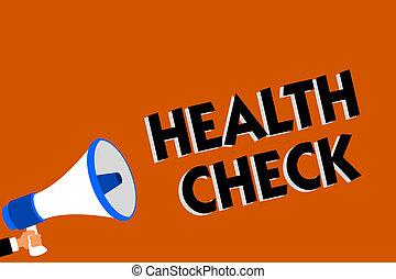 conceptueel, hand het schrijven, het tonen, gezondheid, check., zakelijk, foto, showcasing, medisch onderzoek, wellness, en, algemeen, staat, inspectie, man, vasthouden, luidspreker, oranje achtergrond, boodschap, speaking.