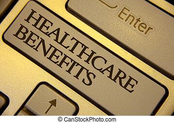 conceptueel, hand het schrijven, het tonen, gezondheidszorg, benefits., zakelijk, foto, tekst, informatietechnologie, is, verzekering, dat, deksels, de, medisch, kosten, toetsenbord, grijze , sleutels, gele achtergrond, computer boodschap, keypad.