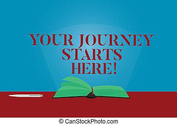 conceptueel, hand het schrijven, het tonen, jouw, reis, begin, here., zakelijk, foto, tekst, motivatie, voor, de aanvang van zaken, inspiratie, kleur, pagina's, van, boek, op, tafel, met, pen en, lichtbundel, glaring.