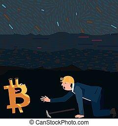 conceptueel, handel illustratie, bitcoins