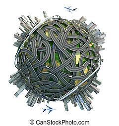 conceptueel, minature, globe, met, wegen, en, steden