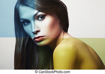 conceptueel, mode, verticaal, van, een, mooi, jonge vrouw