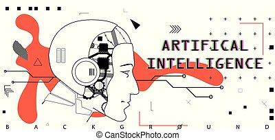 conceptueel, poster, artifical, intelligentie