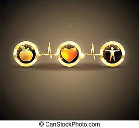 conceptueel, symbolen, gezondheid, ontwerp