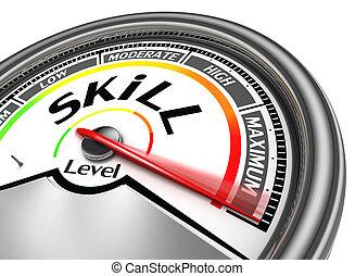 conceptueel, vaardigheid, meter, niveau