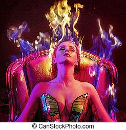conceptueel, verticaal, van, een, vrouw, met, vlam, kapsel