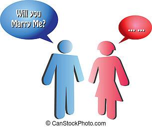 conceptueel, voorstel, vector, huwelijk, illustratie