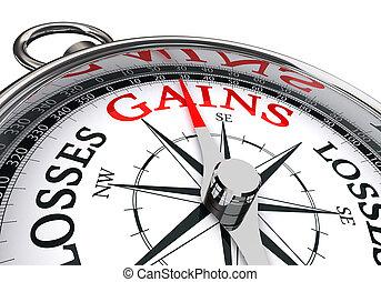 conceptueel, woord, aanwinsten, kompas