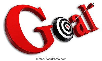 conceptueel, woord, doel, rood, doel