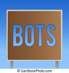 conceptuel, écriture main, projection, bots., business, photo, showcasing, automatisé, programme, cela, courses, sur, internet, intelligence artificielle
