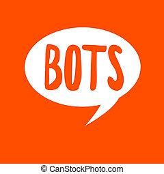 conceptuel, écriture main, projection, bots., business, photo, texte, automatisé, programme, cela, courses, sur, internet, intelligence artificielle