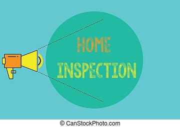 conceptuel, écriture main, projection, maison, inspection., business, photo, showcasing, examen, de, les, condition, de, a, maison, apparenté, propriété