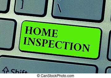 conceptuel, écriture main, projection, maison, inspection., business, photo, texte, examen, de, les, condition, de, a, maison, apparenté, propriété