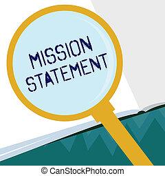 conceptuel, écriture main, projection, mission, statement., business, photo, showcasing, formel, résumé, de, les, vise, et, valeurs, de, a, compagnie
