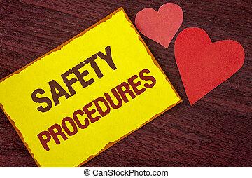 conceptuel, écriture main, projection, sécurité, procedures., business, photo, texte, suivre, règles, et, règlements, pour, lieu travail, sécurité, écrit, sur, note collante jaune, papier, sur, bois, fond, hearts.