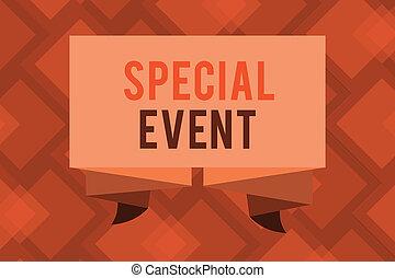 conceptuel, écriture main, projection, spécial, event., business, photo, texte, fonction, à, engendrer, argent, pour, non, profit, a, bondé, occassion