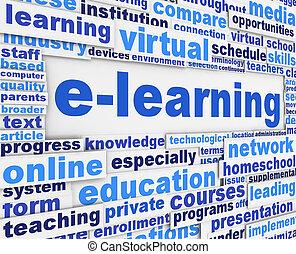 conceptuel, affiche, e-apprendre, slogan, conception