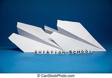 conceptuel, aviation, école, idée