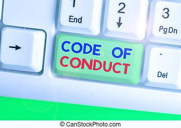 conceptuel, code, texte, éthique, signe, conduct., valeurs, codes, éthique, projection, photo, principes, moral, respect., règles