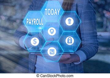 conceptuel, compensation, total, photo, texte, employees., payer, tout, devoir, affaires signent, sien, payroll., projection