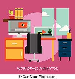 conceptuel, conception, espace de travail, illustration,...