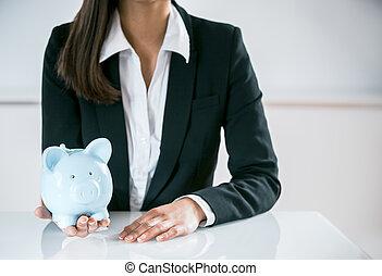 conceptuel, femme affaires, banque, porcin, tenue